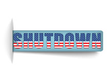 Bandeiras fechados dos EUA da parada programada do governo. Imagens de Stock Royalty Free
