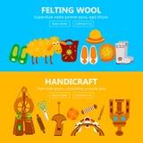 Bandeiras feitos a mão com os instrumentos para a feltragem Imagens de Stock
