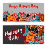 Bandeiras felizes de Dia das Bruxas com símbolos da etiqueta do feriado dos desenhos animados Convite party ou cartão Fotos de Stock Royalty Free