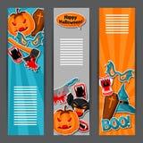 Bandeiras felizes de Dia das Bruxas com símbolos da etiqueta do feriado dos desenhos animados Convite party ou cartão Imagens de Stock Royalty Free