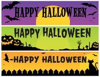 Bandeiras felizes de Halloween Fotos de Stock Royalty Free