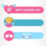 Bandeiras felizes do dia de Valentim ilustração stock