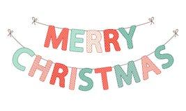 Bandeiras festivas da estamenha com Feliz Natal das letras em cores tradicionais ilustração stock