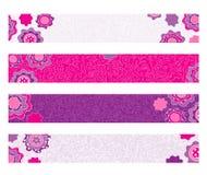 Bandeiras florais decorativas brilhantes Imagens de Stock Royalty Free