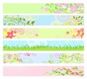 Bandeiras florais do Web site da mola/vetor Fotografia de Stock