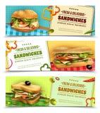 Bandeiras frescas saudáveis da propaganda dos sanduíches ajustadas ilustração royalty free