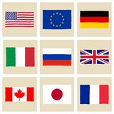 Bandeiras G8 tiradas mão Foto de Stock