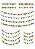 Bandeiras geométricas usadas durante Festa Junina em Brasil Fotos de Stock