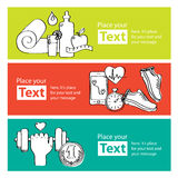 Bandeiras handdrawn de movimentar-se, gym do conceito saudável da vida, alimento saudável, medidor Imagens de Stock Royalty Free