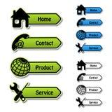 Bandeiras - home, contato, produto, serviço Fotografia de Stock