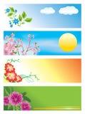 Bandeiras horizontais com flores Fotos de Stock Royalty Free
