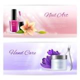 Bandeiras horizontais da beleza de elementos do salão de beleza do pedicure e do tratamento de mãos com flores macias Ilustração  Imagem de Stock