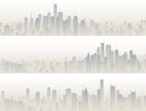 Bandeiras horizontais da cidade grande no embaçamento Foto de Stock