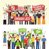 Bandeiras horizontais das demonstrações políticas e ecológicas Fotos de Stock Royalty Free