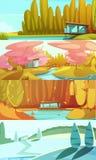 Bandeiras horizontais das paisagens das estações da natureza ajustadas Fotos de Stock Royalty Free