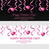 Bandeiras horizontais do dia de Valentim do St com flâmulas e corações cor-de-rosa ilustração royalty free
