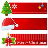 Bandeiras horizontais do Natal ilustração stock