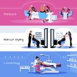 Bandeiras horizontais do serviço do salão de beleza ilustração stock