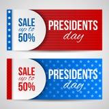 Bandeiras horizontais do vetor moderno, encabeçamentos de página com texto para presidentes Dia Bandeiras com listras e estrelas  Imagem de Stock