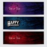 Bandeiras horizontais felizes de Dia das Bruxas ajustadas Imagem de Stock Royalty Free