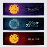 Bandeiras horizontais felizes de Dia das Bruxas ajustadas Imagens de Stock Royalty Free