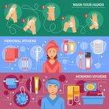 Bandeiras horizontais lisas da higiene pessoal ajustadas Fotos de Stock