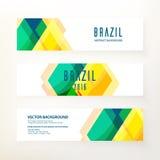 Bandeiras horizontais no conceito da cor de Brasil Fotos de Stock