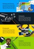 Bandeiras infographic das belas artes sobre a pintura e o desenho, calligr Imagens de Stock Royalty Free