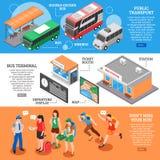 Bandeiras isométricas da estação de ônibus ajustadas ilustração royalty free