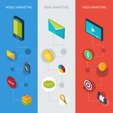 Bandeiras isométricas de mercado Imagem de Stock