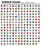 Bandeiras isométricas do círculo do mundo ilustração do vetor