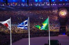Bandeiras japonesas, gregas e brasileiras no estádio de Maracana Imagens de Stock Royalty Free