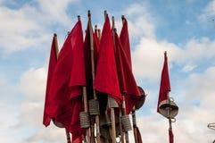 Bandeiras líquidas vermelha imagens de stock