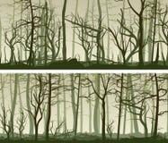 Bandeiras largas horizontais com muitos troncos de árvore Imagens de Stock Royalty Free