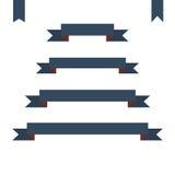 Bandeiras lisas azuis da fita ajustadas ilustração do vetor do projeto Imagens de Stock Royalty Free