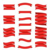 Bandeiras lisas da fita vermelha ajustadas Elementos decorativos superiores isolados no fundo branco Etiquetas da coleção do mold ilustração do vetor