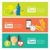 Bandeiras lisas de movimentar-se, gym do conceito saudável da vida, alimento saudável, medidor Imagem de Stock