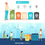 Bandeiras lisas de reciclagem de classificação Waste ajustadas ilustração royalty free