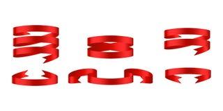Bandeiras lustrosas vermelhas da fita Fotografia de Stock