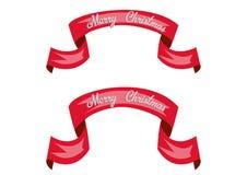 Bandeiras lustrosas vermelhas do vetor da fita Ano novo feliz Feliz Natal Eps 10 Imagens de Stock