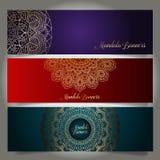 Bandeiras luxuosas com projetos da mandala Fotografia de Stock Royalty Free