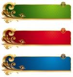 Bandeiras luxuosas douradas Fotografia de Stock