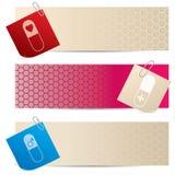 Bandeiras médicas com papel para cartas unidos Imagens de Stock