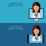 Bandeiras médicas horizontais, telemedicina 1-2, ícone Fotografia de Stock