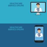 Bandeiras médicas horizontais, telemedicina 2 Imagem de Stock
