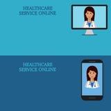 Bandeiras médicas horizontais, telemedicina 1 Imagem de Stock