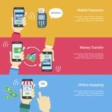 Bandeiras móveis dos pagamentos ajustadas Foto de Stock
