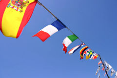 Bandeiras maritimas. Flags of various countrys in boat of tejo river Royalty Free Stock Photos