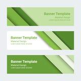 Bandeiras materiais do projeto Grupo de bandeiras horizontais coloridas modernas do vetor, encabeçamentos de página Foto de Stock