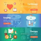 Bandeiras médicas e da saúde ajustadas Cardiologia do tratamento do coração Fotografia de Stock